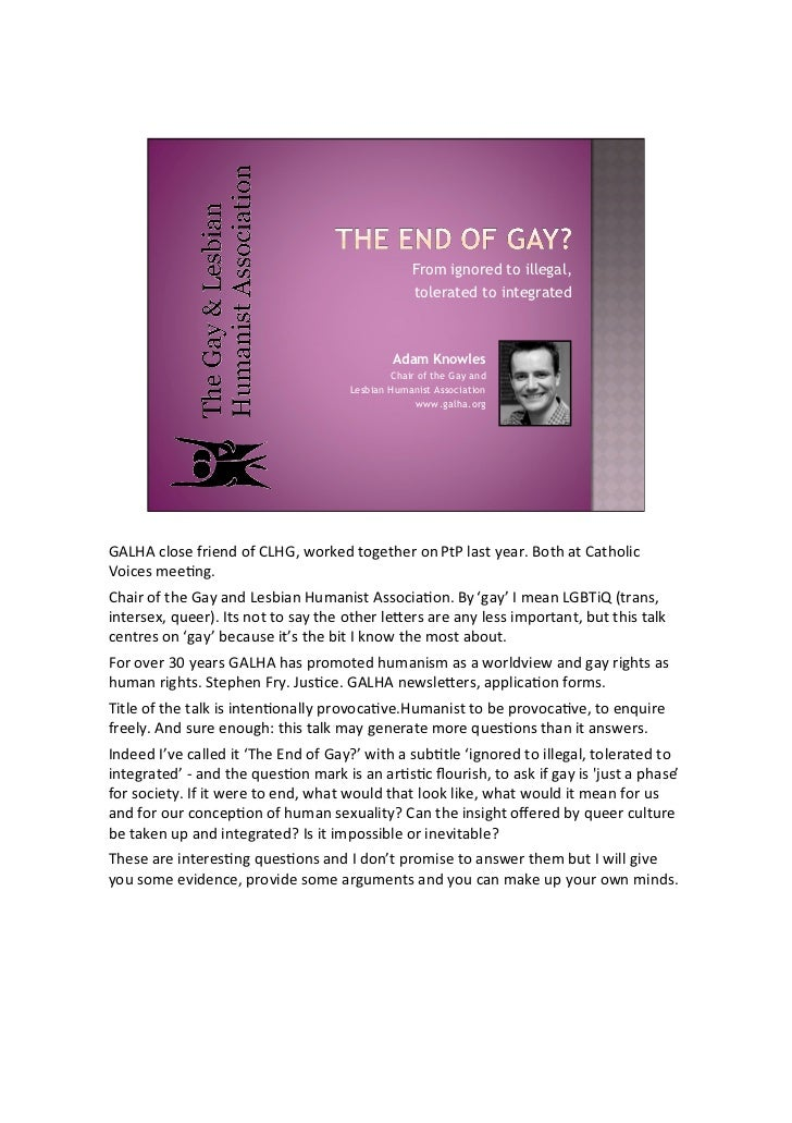 From ignored to illegal, tolerated to integrated  Adam Knowles Chair of the Gay and Lesbian Humanist Association www.galha...