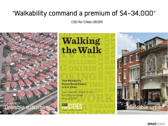 """Walkability command a premium of $4-34,000"" CEO for Cities (2009) ""Walkable urban""""Drivable suburban"""