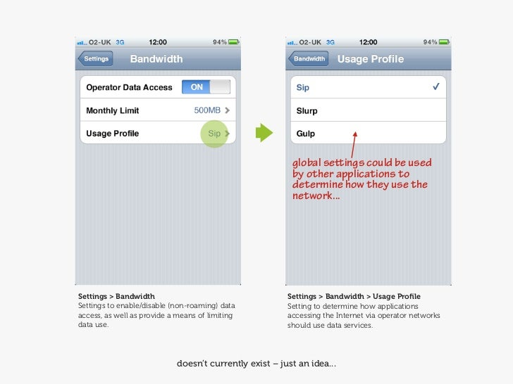 On more teeny button...                                 Usage ProfilesAdd an extra button that launches a 'Usage           ...