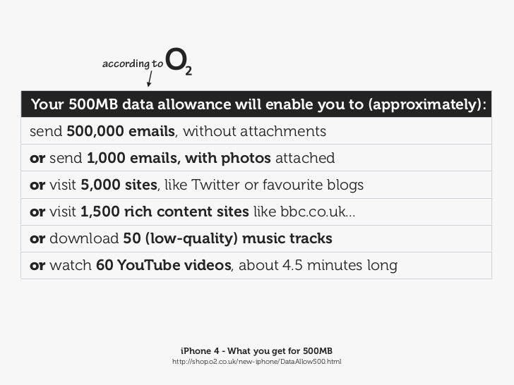 according toYour 500MB data allowance will enable you to (approximately):send 500,000 emails, without attachmentsor send 1...
