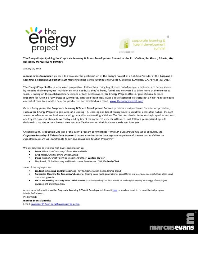 The Energy Project joining the Corporate Learning & Talent Development Summit at the Ritz Carlton, Buckhead, Atlanta, GA,h...