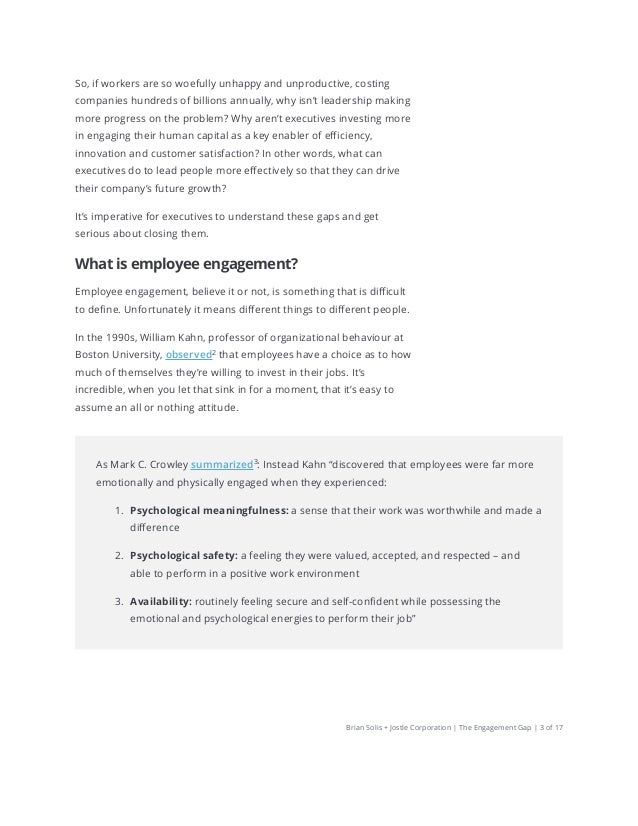 The Engagement Gap: How executives and employees think differently about employee engagement by Brian Solis and Jostle Slide 3