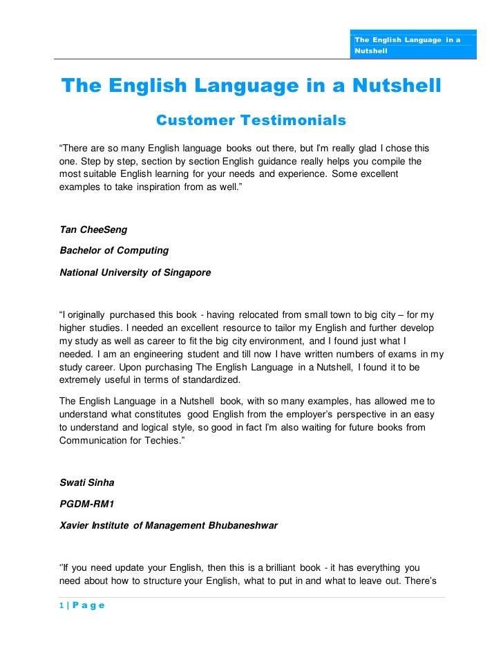 The English Language in a                                                                    NutshellThe English Language ...