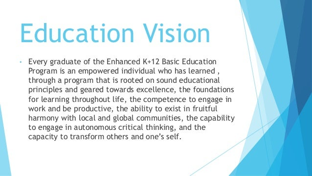 the enhanced k 12 education program by Fifteenth congress of the republic of the philippines third regular session ) ) ) senate s no , :ijsc coverage of enhanced basic education the enhanced basic education 12 program encompasses at least one (1) year of kindergarten education, six (6) years of 13.