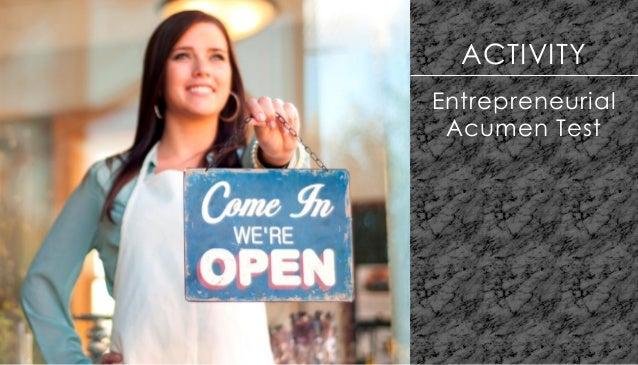 ACTIVITY Entrepreneurial Acumen Test