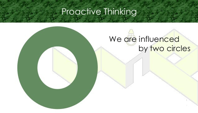 Proactive Thinking We are influenced by two circles