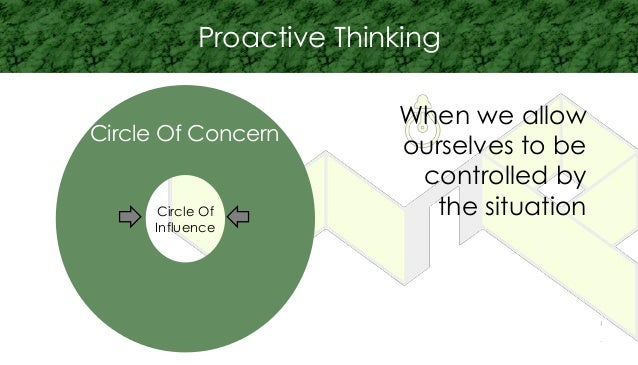 Circle Of Influence Circle Of Concern Proactive Thinking When we allow ourselves to be controlled by the situation