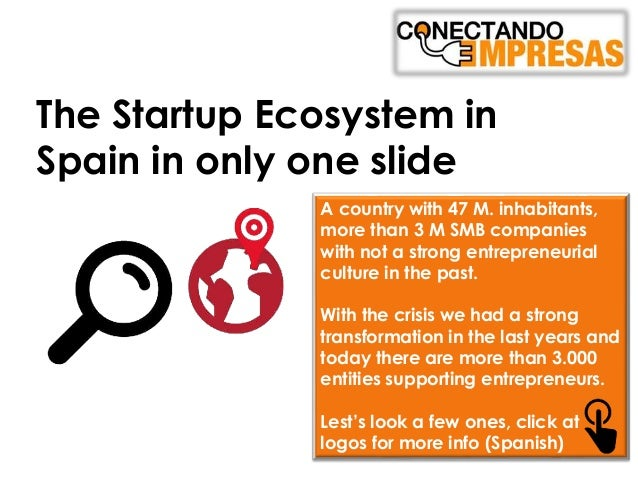 The Startup Ecosystem in Spain in only one slide A country with 47 M. inhabitants, more than 3 M SMB companies with not a ...