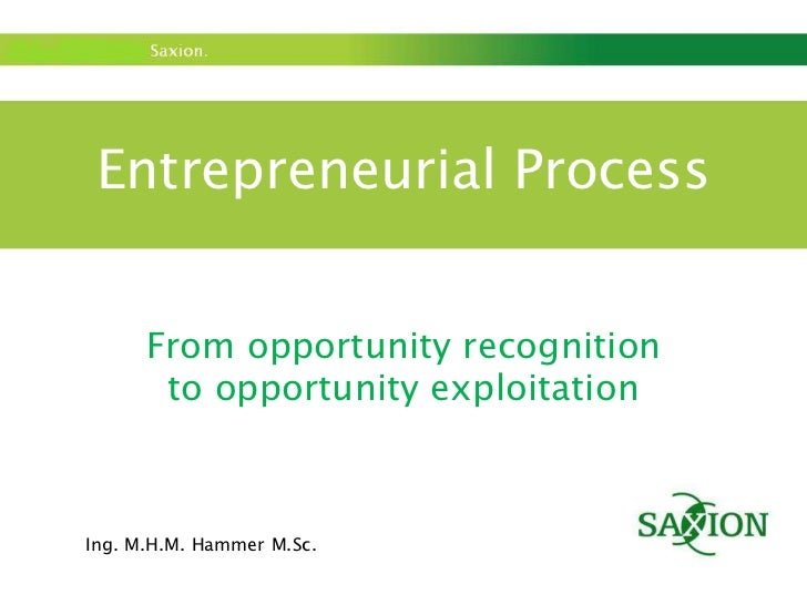 Entrepreneurial Process<br />From opportunity recognition <br />to opportunity exploitation<br />Ing. M.H.M. Hammer M.Sc.<...