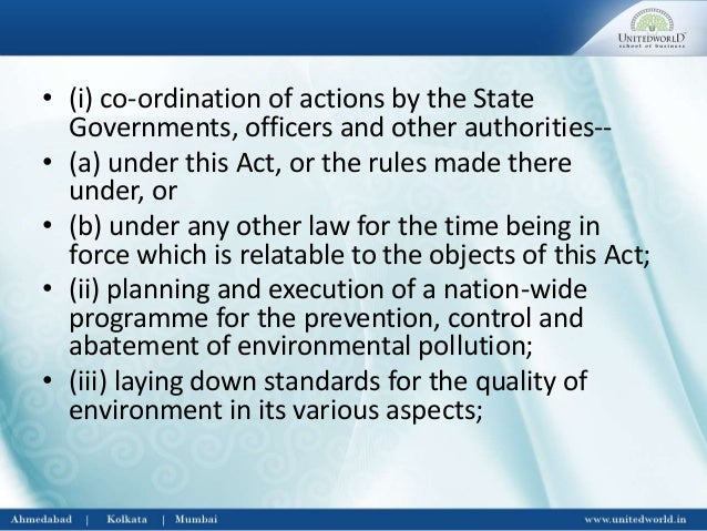 Write a short note on environmental protection act
