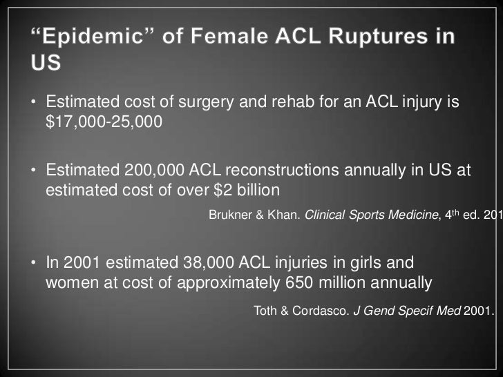 an analysis of acl injuries in athletes A complete understanding of the causes for injury requires a description of the mechanism of injury video analysis  acl injuries in female athletes:.