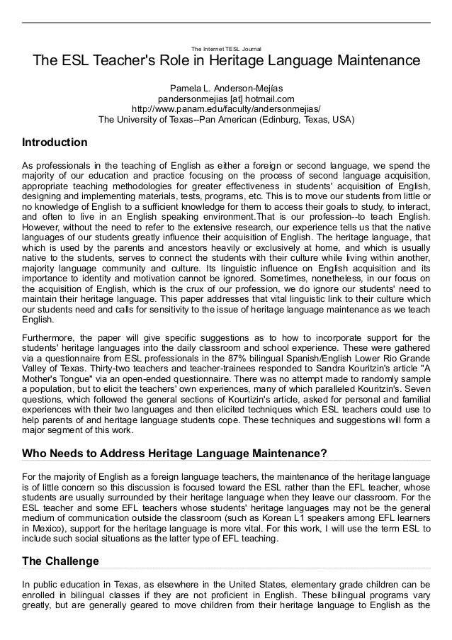 heritage language maintenance Who needs to address heritage language maintenance for the majority of english as a foreign language teachers, the maintenance of the heritage language is of little concern so this discussion.
