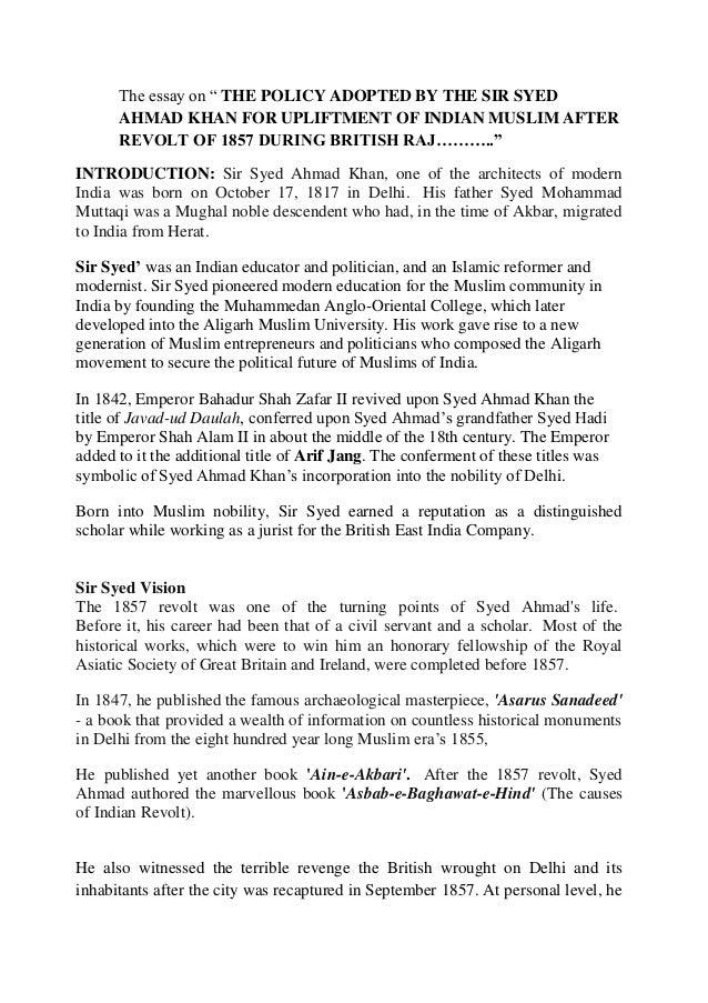 essay on sir syed ahmed khan with headings