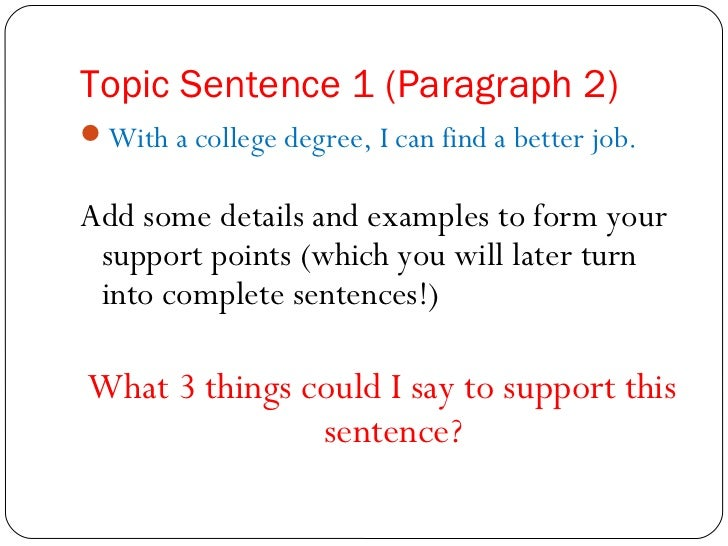 how to write a topic sentence for a essay