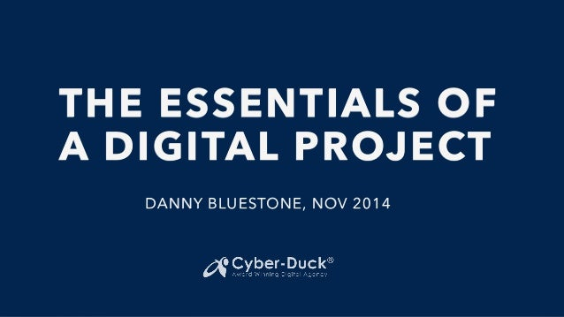 THE ESSENTIALS OF  A DIGITAL PROJECT  DANNY BLUESTONE, NOV 2014