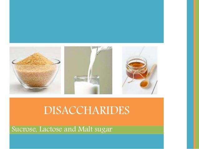 Sucrose, Lactose and Malt sugar DISACCHARIDES