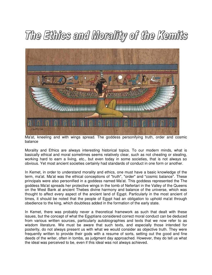 Maat, kneeling and with wings spread. The goddess personifying truth, order and cosmicbalanceMorality and Ethics are alway...
