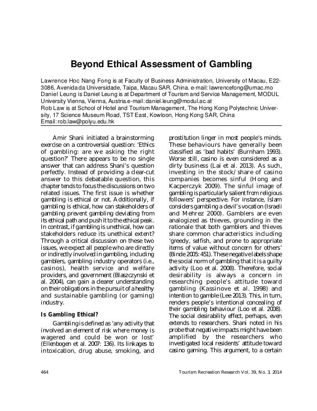 Structural functionalist perspective on gambling par a dice casino