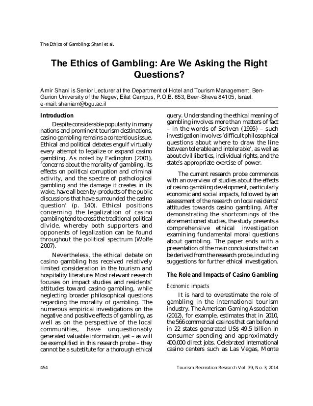 Morality and ethics of gambling psych forums gambling