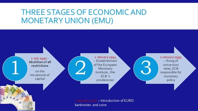 the european monetary union In order to enjoy the benefits of increased economic integration, 11 european  countries formed the economic and monetary union (emu) and began using a.