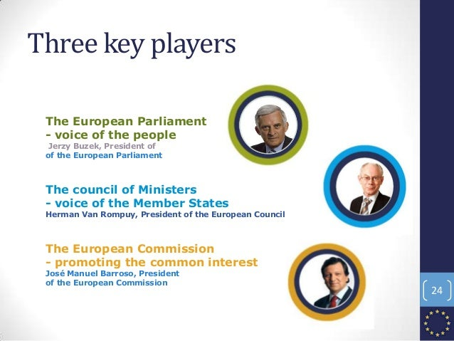 Three key players The European Parliament - voice of the people Jerzy Buzek, President of of the European Parliament The c...