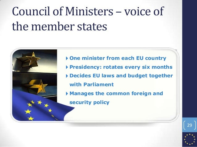Council of Ministers – voice of the member states 4One minister from each EU country 4Presidency: rotates every six months...