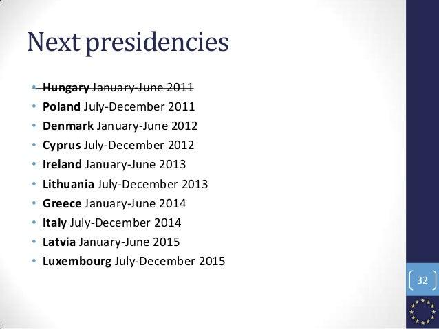 Next presidencies • Hungary January-June 2011 • Poland July-December 2011 • Denmark January-June 2012 • Cyprus July-Decemb...