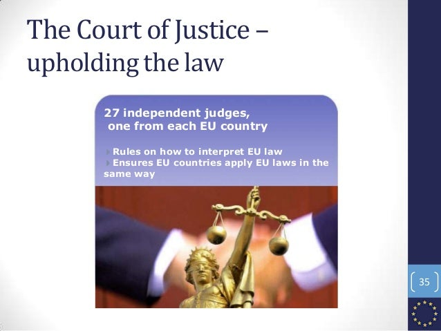 27 independent judges, one from each EU country 4Rules on how to interpret EU law 4Ensures EU countries apply EU laws in t...