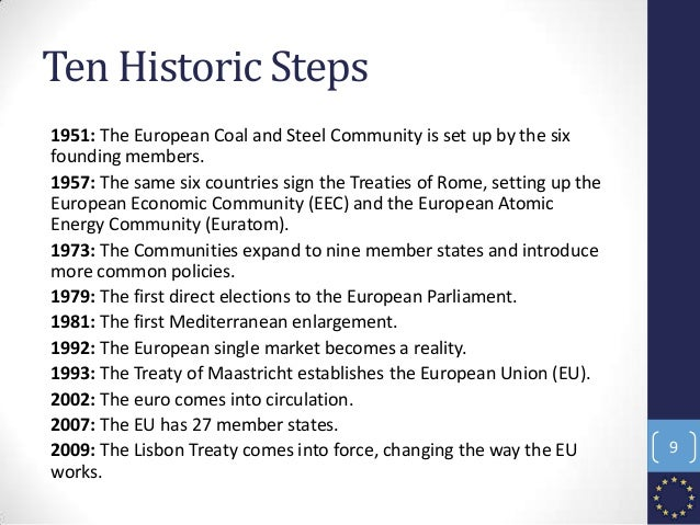 Ten Historic Steps 1951: The European Coal and Steel Community is set up by the six founding members. 1957: The same six c...