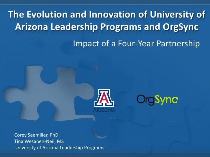 The Evolution and Innovation of University of Arizona Leadership Programs and OrgSync                           Impact of ...