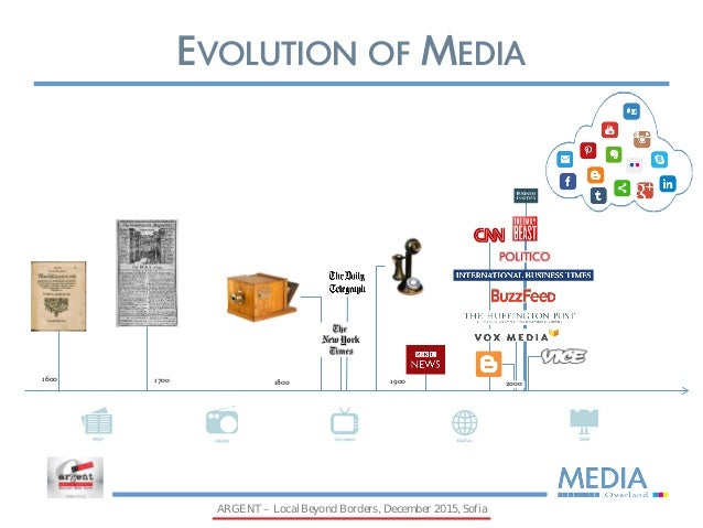 evolution of media Evolution of media technologies (1450) printing press invented by  johannes gutenberg (1556) first monthly newspaper published by  notizie.