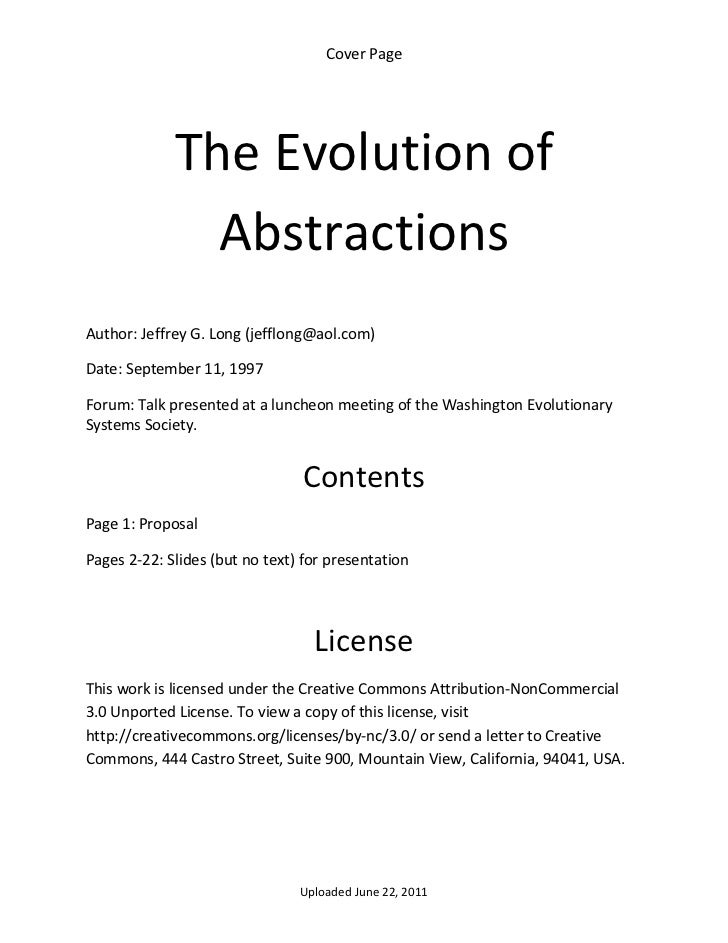 Cover Page               The Evolution of                Abstractions  Author: Jeffrey G. Long (jefflong@aol.com) Date: Se...