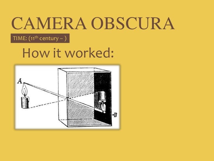 CAMERA OBSCURA<br />TIME: (11th century – )<br />How it worked:<br />