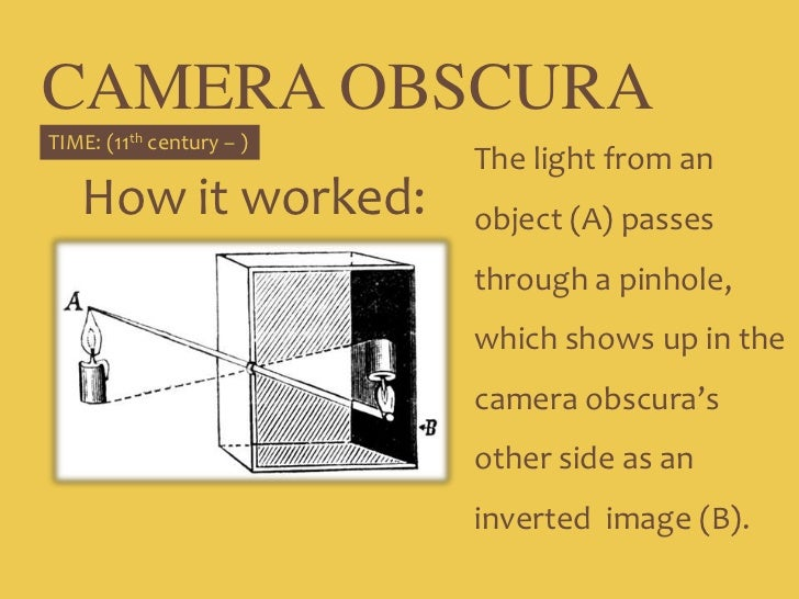 CAMERA OBSCURA<br />The light from an object (A) passes through a pinhole, which shows up in the camera obscura's other si...