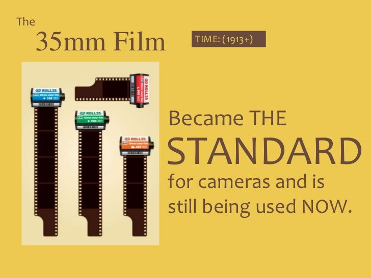 The<br />35mm Film<br />TIME: (1913+)<br />Became THE <br />STANDARD<br />for cameras and is still being used NOW. <br />