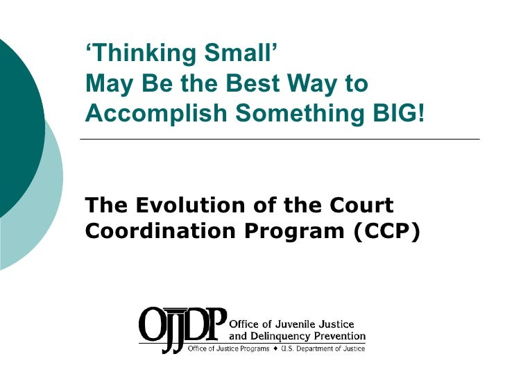 The evolution of the court coordination program (ccp) thinking small