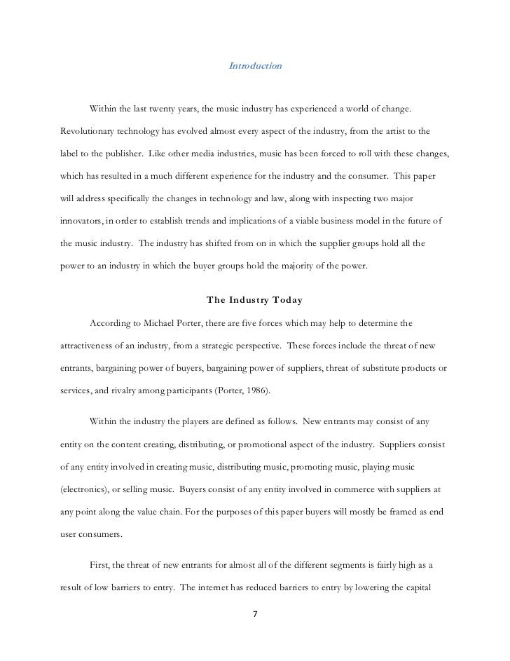 music industry essay