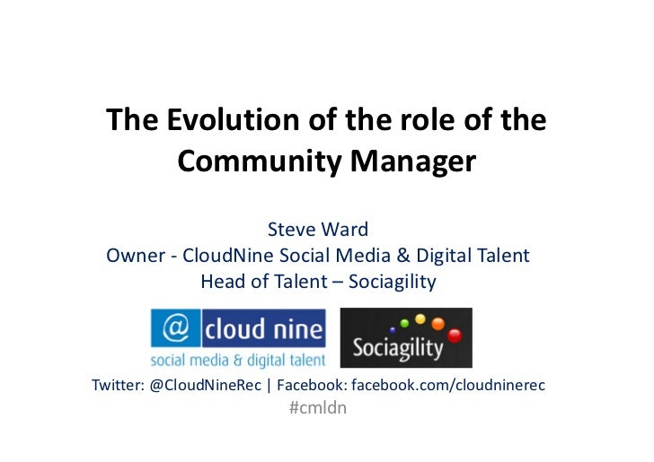 The Evolution of the role of the      Community Manager                  Steve Ward Owner - CloudNine Social Media & Digit...