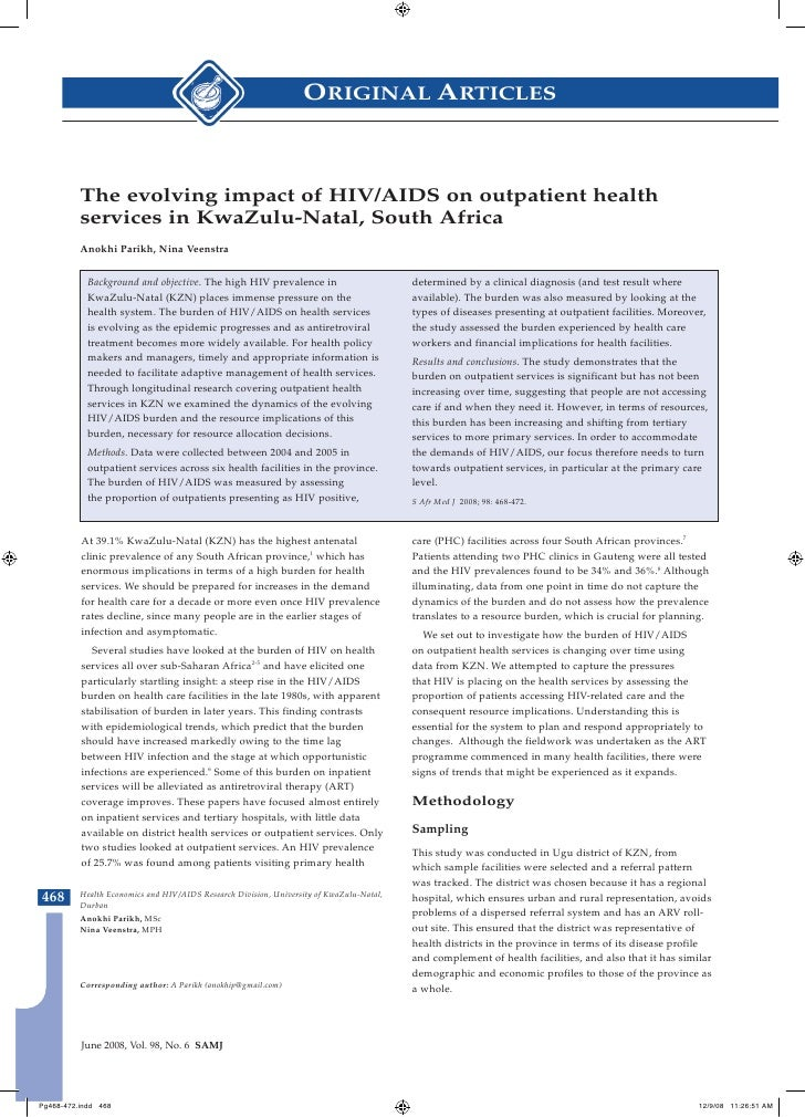 ORIGINAL ARTICLES              The evolving impact of HIV/AIDS on outpatient health           services in KwaZulu-Natal, S...