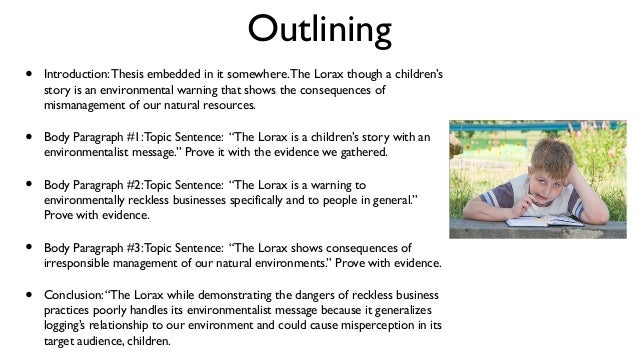 an essay example  the lorax  outlining  introductionthesis