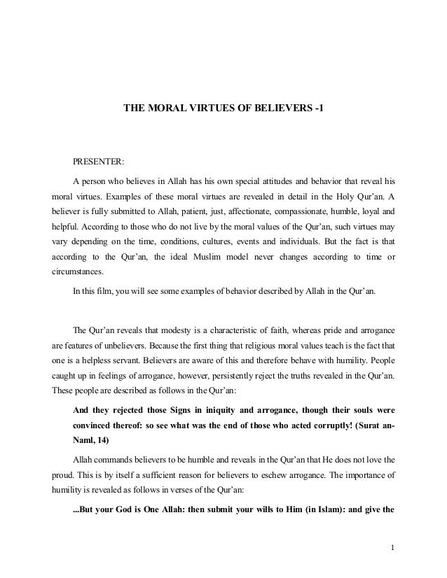 Desriptive Essay The Excellent Moral Values Of Believers English The Moral Virtues Of  Believers  Presenter A Person The Help Essay also Usf Essay Prompt Moral Values Essay Moral Values Essay The Adventures Of Huckleberry  Comparative Essay Sample