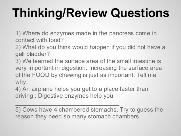 Thinking/Review Questions1) Where do enzymes made in the pancreas come incontact with food?2) What do you think would happ...