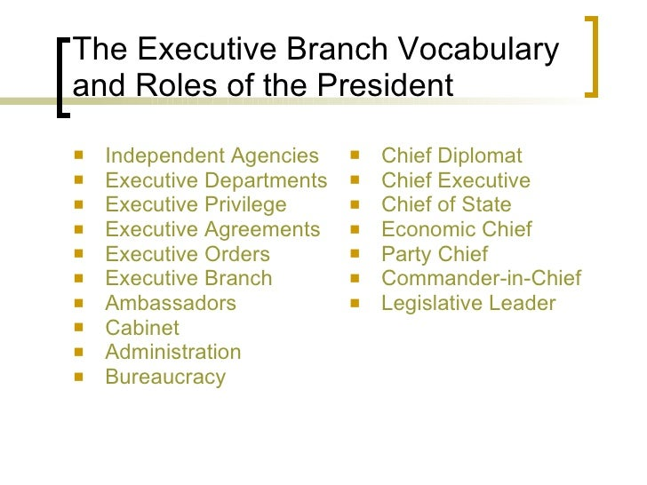 The Executive Branch Vocabulary