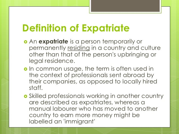 the expatriate experience