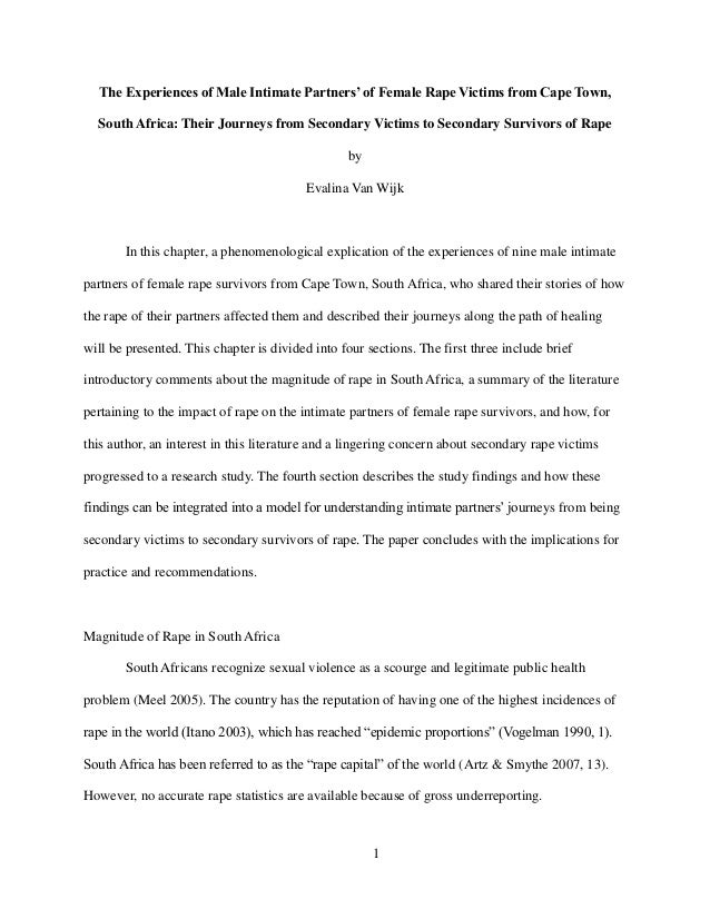 The Experiences of Male Intimate Partners' of Female Rape Victims from Cape Town, South Africa: Their Journeys from Second...