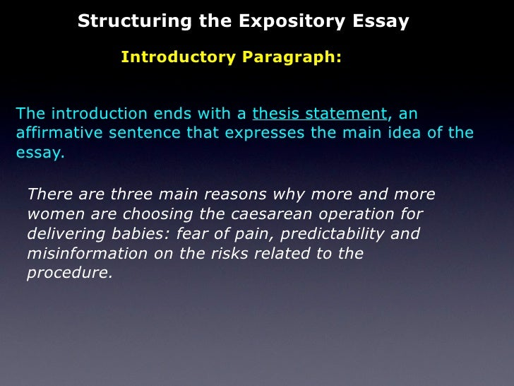 the expository essay 14 structuring the expository essay introductory paragraph the introduction