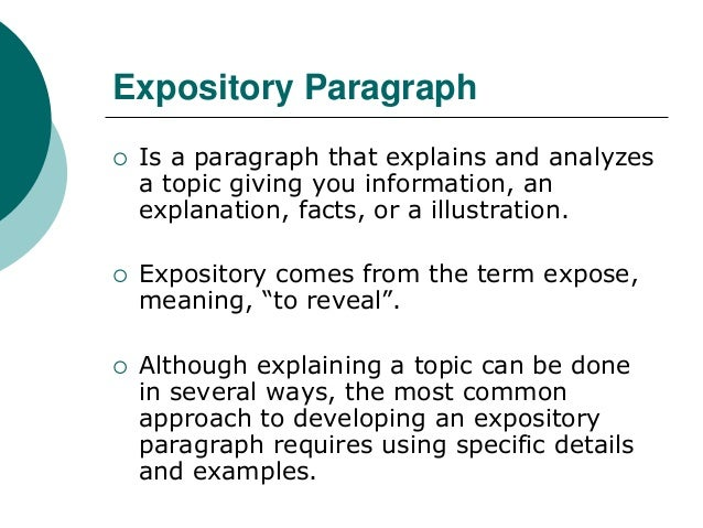 essays expository definition 'in each issue users will find an article covering some base of creative or expository writing' 'second, doctrinal instruction need not oppose expository.