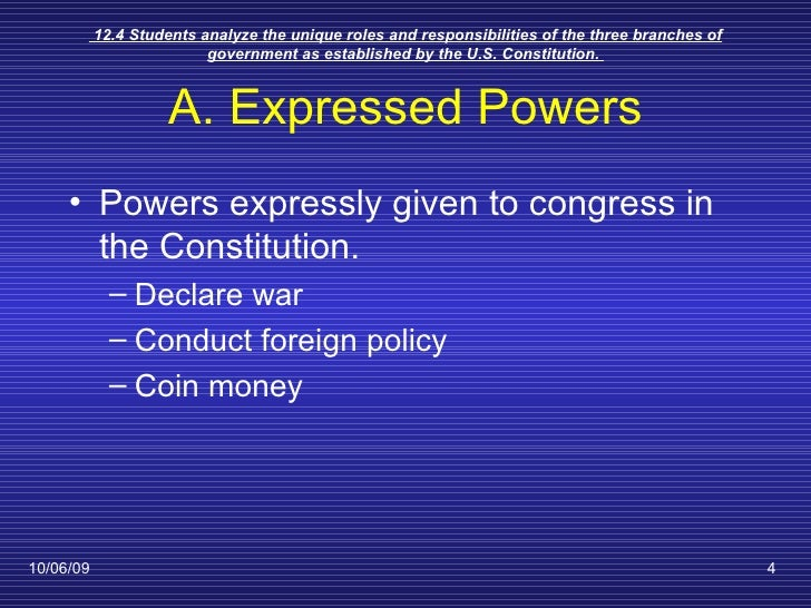 The Expressed Powers Of Congress
