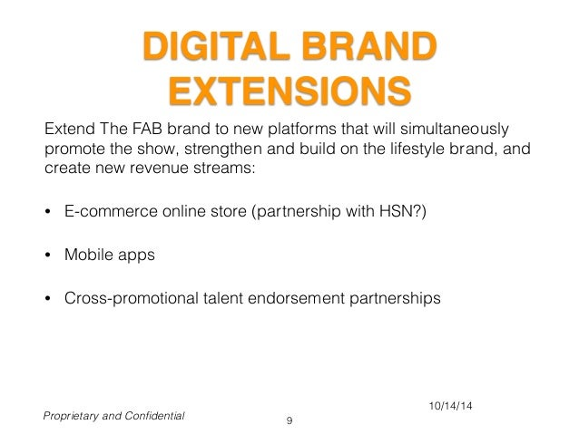 DIGITAL BRAND EXTENSIONS Extend The FAB brand to new platforms that will simultaneously promote the show, strengthen and b...