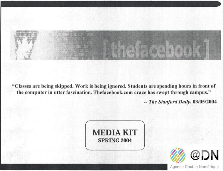Le media kit Collector de Facebook en 2004